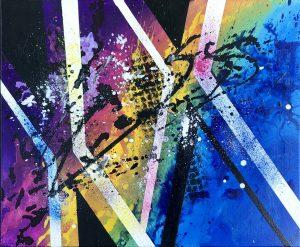 tableau abstrait coloré fait main